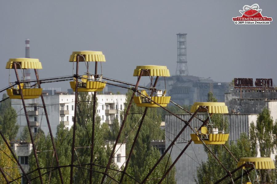 Up close: Pripyat ferris wheel with Chernobyl power plant
