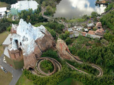 Expedition Everest roller coaster aerial view