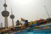 The landmark Kuwait Towers are adjacent to the water park