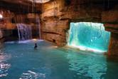Hidden aquariums at a slide exit