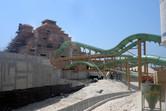 Ziggurat slide tower under construction