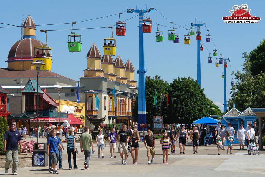Cedar Point main street and cable car