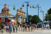 Cedar Point main street and cable car