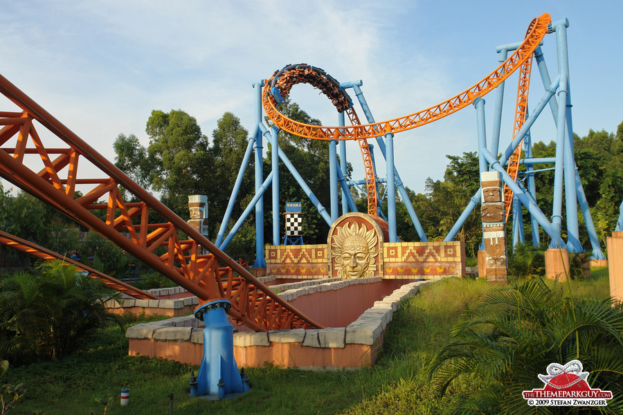 Inversion-packed roller coaster ride