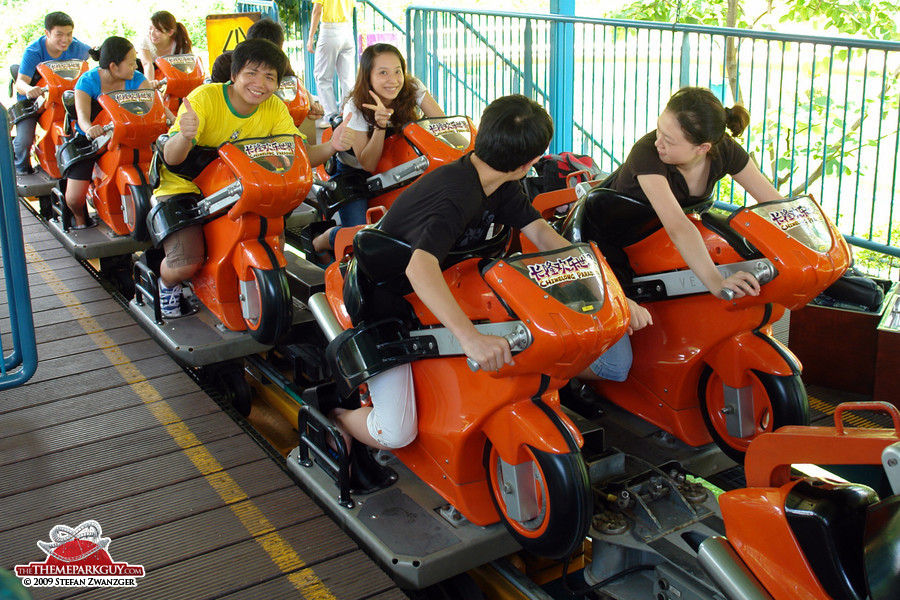 Motorcycle-shaped launch roller coaster