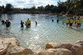 In the dolphin pool