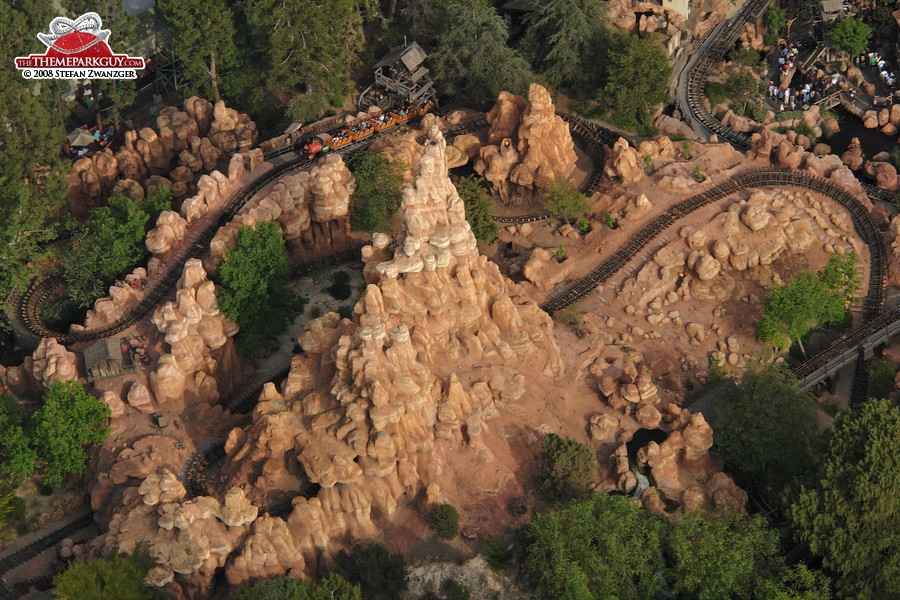 Big Thunder Mountain roller coaster aerial