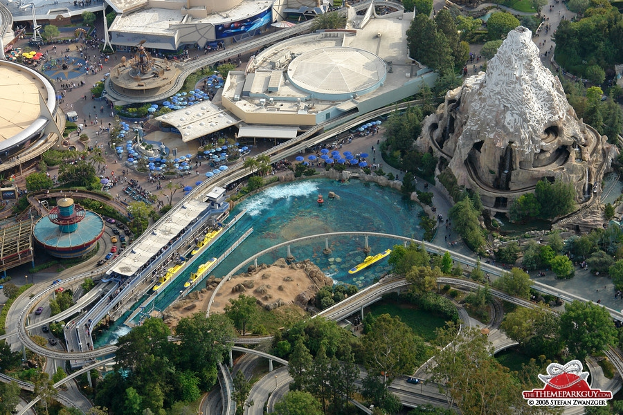 Submarine attraction (left) and Matterhorn Bobsleds ride (right)