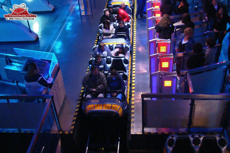 Space Mountain roller coaster station