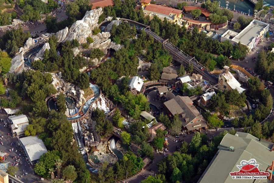 Aerial view of the Grizzly River Run river rapids ride