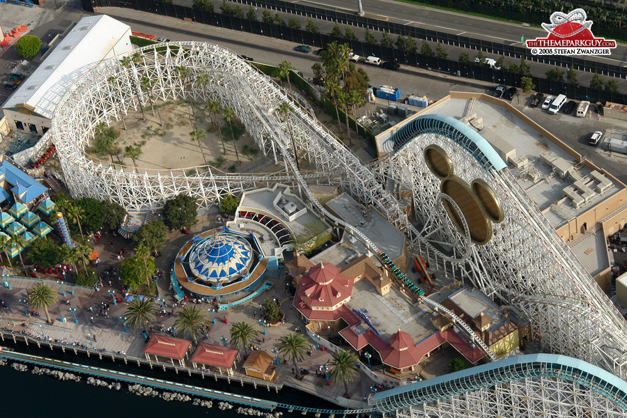 Paradise Pier roller coaster aerial
