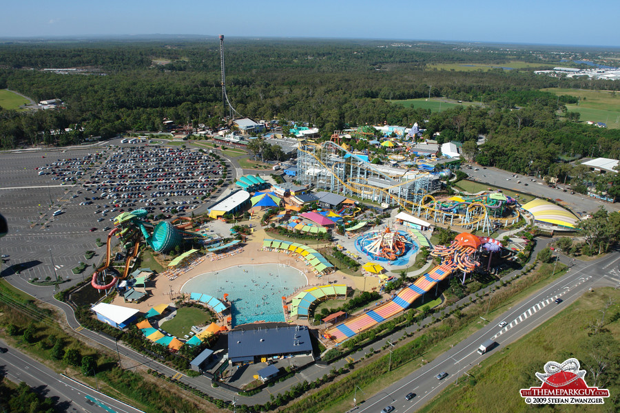 Dreamworld Australia, with WhiteWater World water park in the foreground