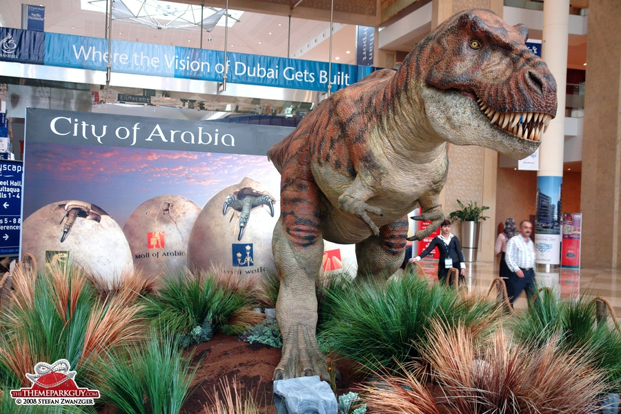 City of Arabia dinosaur exhibited at a local trade fair