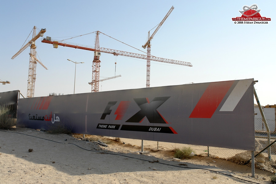 F-1 X theme park construction wall