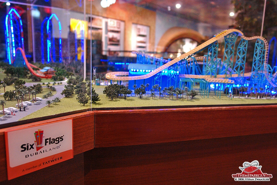 Six Flags coaster model in the sales center
