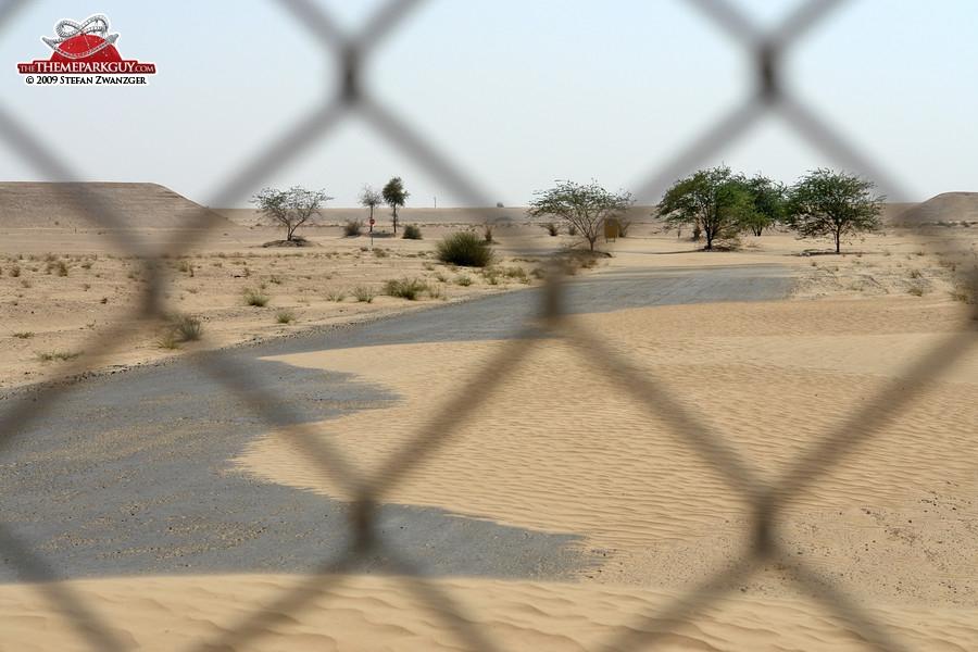 Desert claiming back the abandoned Universal site