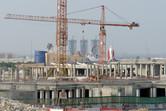 Dubailand sales center seen through F-1 X construction