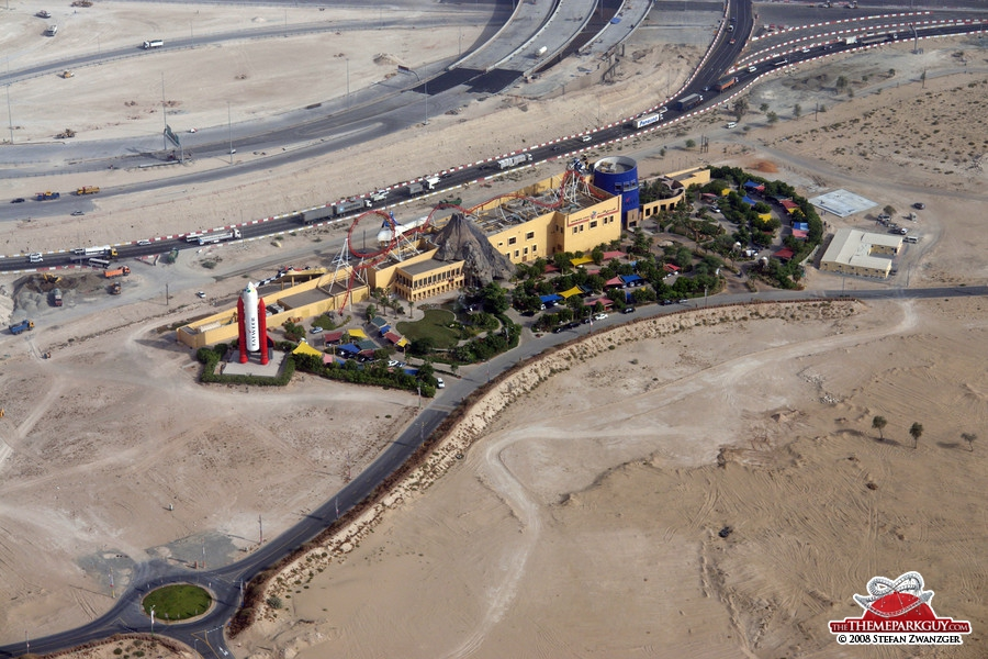 Dubailand sales center from the helicopter