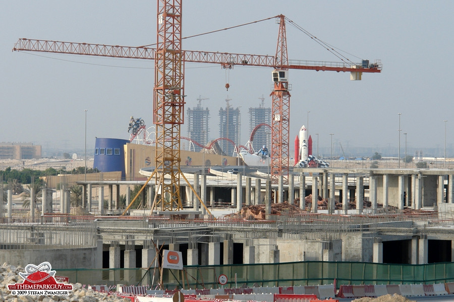 Dubailand sales center seen through F-1 X construction