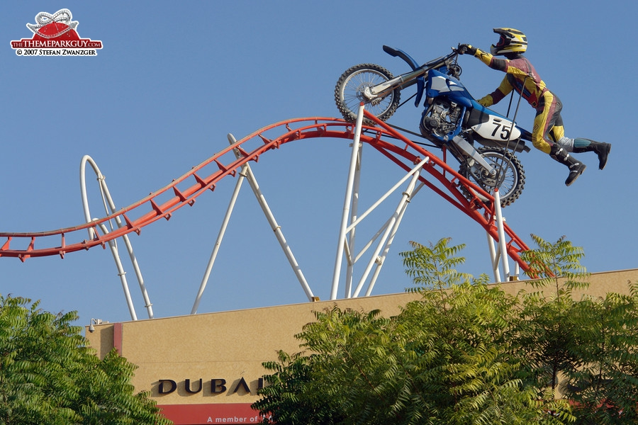 Giant biker on giant coaster track