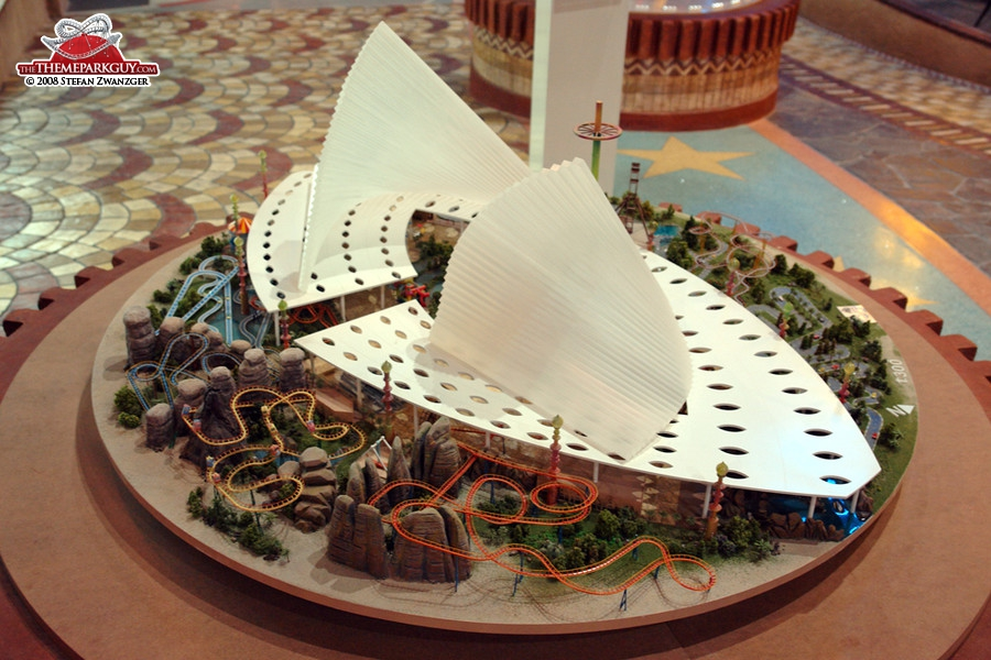Legends theme park model in the sales center