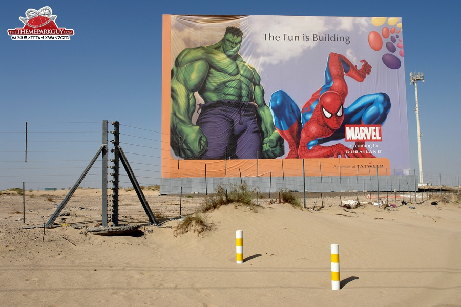 Marvel theme park billboard