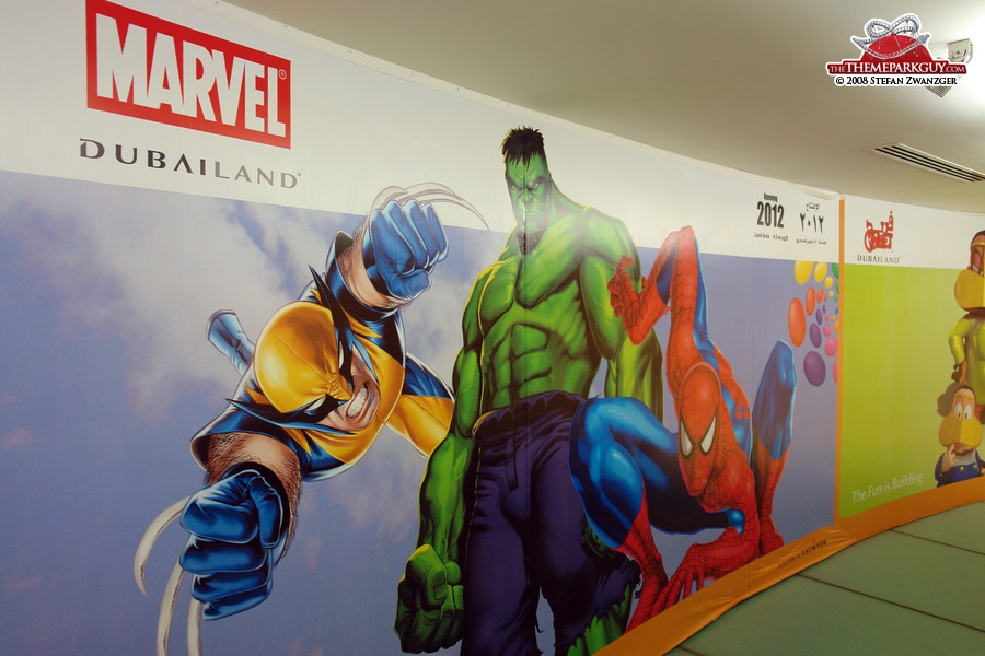 Marvel theme park poster in the sales center