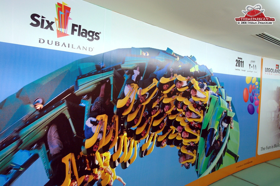 Six Flags poster in the sales center