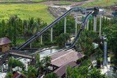 Log flume ride seen from above
