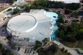 Aerial shot of the Living Seas aquarium building