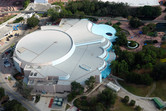 Aerial shot of the Living Seas aquarium building