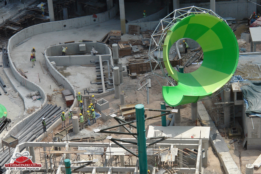 A funnel-shaped water slide in the making