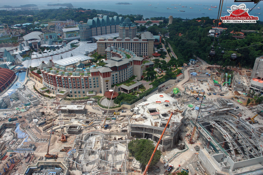 Resorts World Sentosa on the left, Equarius Water Park on the right