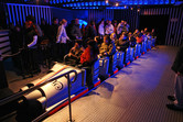 Space Mountain-inspired roller coaster in the dark