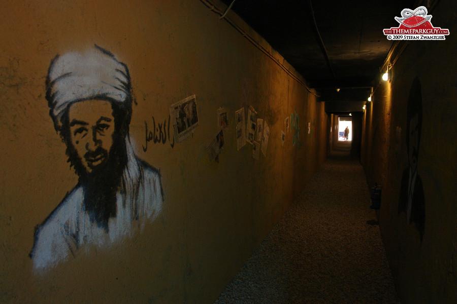 Osama bin Laden in dark corridors