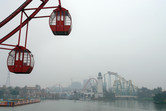 Ferris wheel with factory smog view