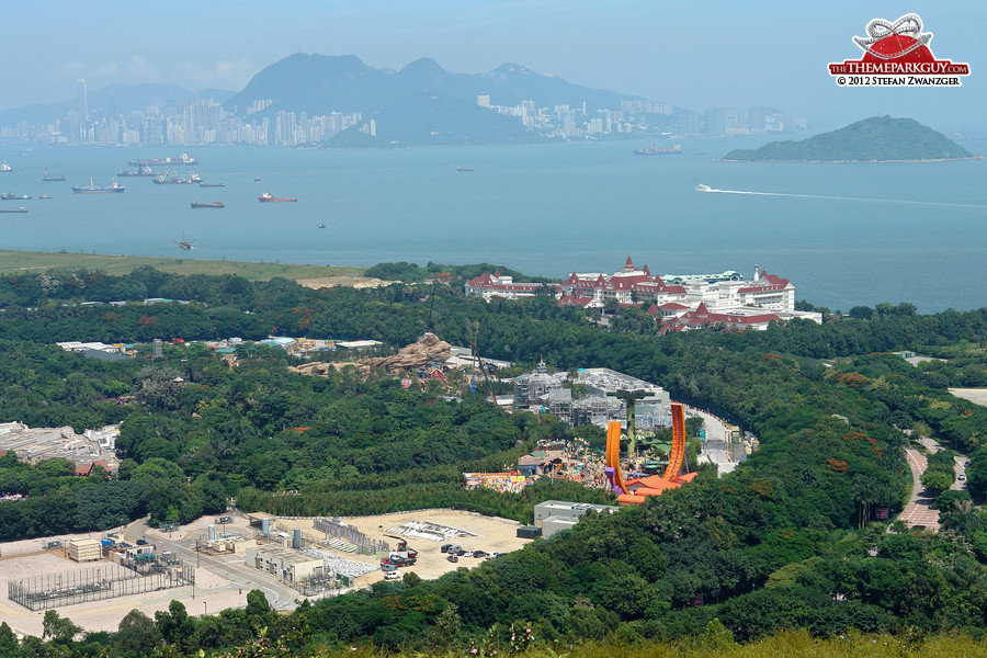 Disneyland expansion, with Hong Kong Island in the background