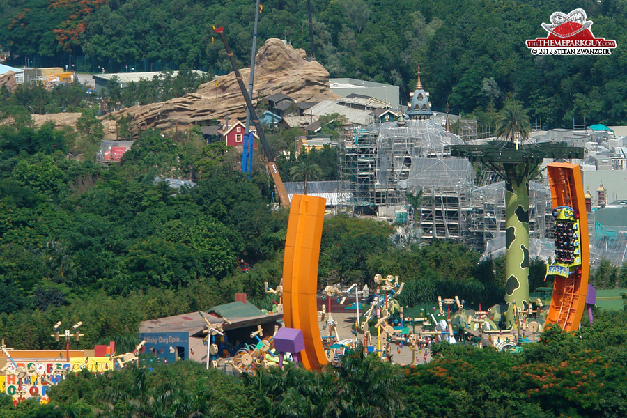 Toy Story coaster in the foreground, Mystic Manor and Grizzly Gulch still under construction