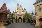 Hong Kong Disneyland castle seen from Fantasyland