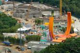Mystic Manor dark ride at the back, Toy Story Land at the front