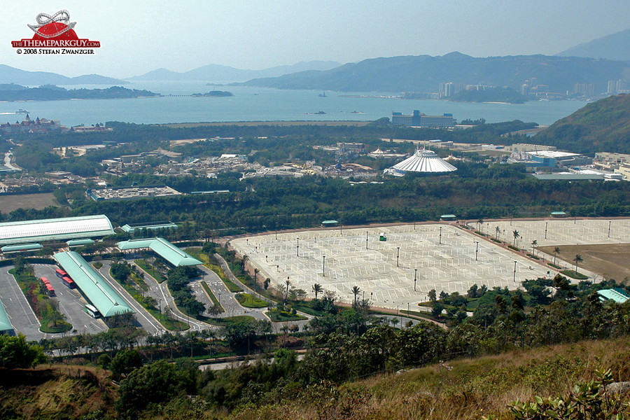 Hong Kong Disneyland seen from the mountains