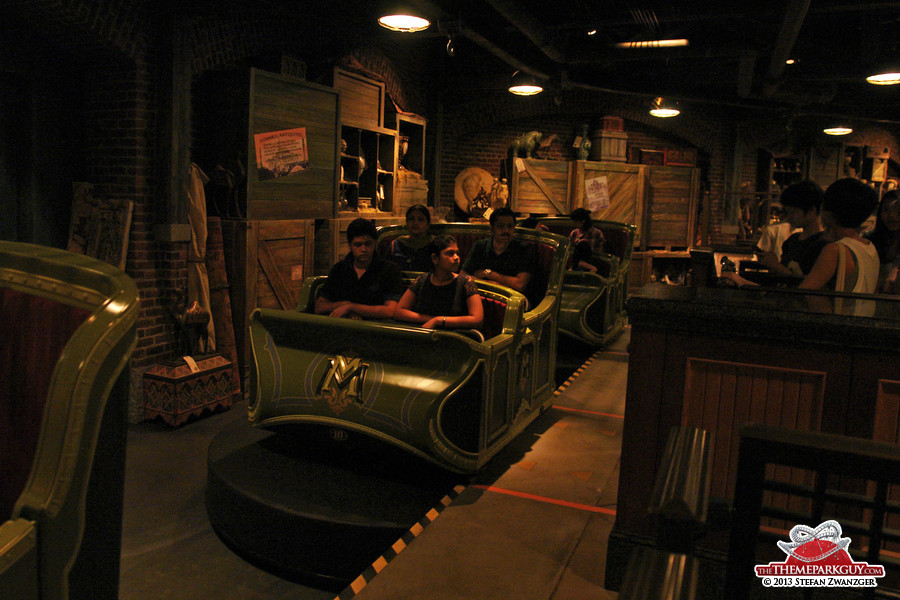 Mystic Manor trackless ride vehicles