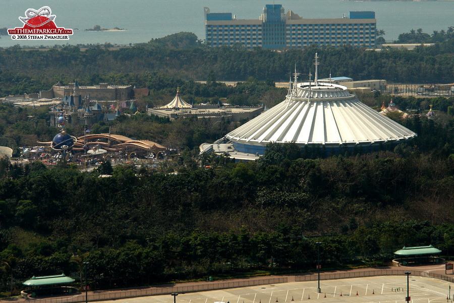 Space Mountain seen from an elevated point