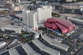 Circus Circus hotel, with attached Adventuredome theme park (crimson color)