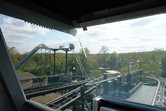 Riding in an enclosed coaster car