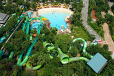 Adventure Cove Waterpark slides and wave pool