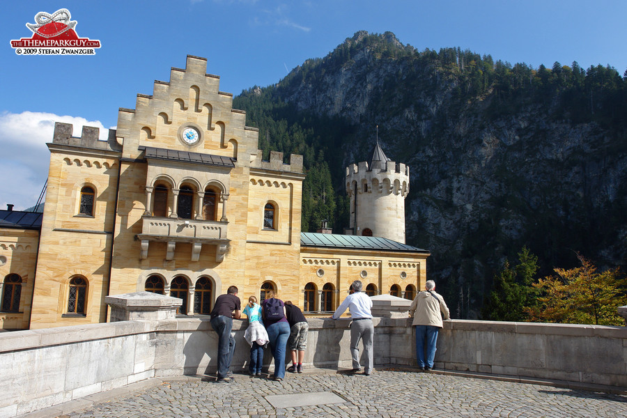 Neuschwanstein Castle, with the Alps in the background