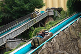 Parallel lift hills at this log flume ride