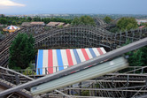 Stampida is a dueling wooden roller coaster