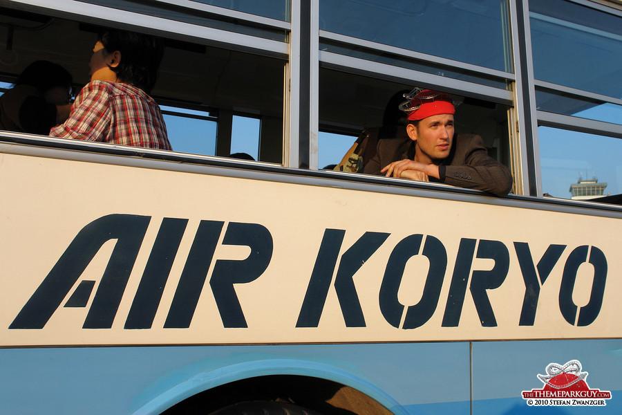Arriving at Pyongyang airport